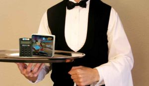 a-waiter-hospitality-with-a-mpos-device-on-a-tray